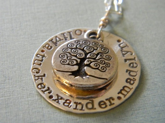 personalized hand stamped jewelry family tree