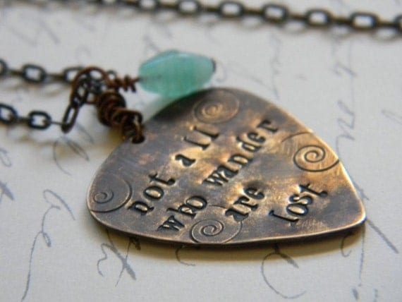 not all who wander are lost, literary quote, vintaj brass necklace