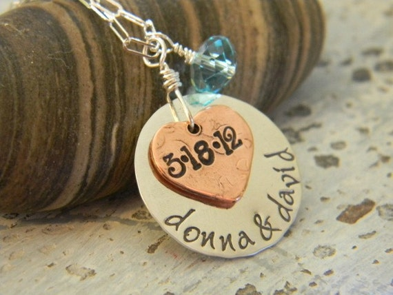 hand stamped personalized heartfelt necklace