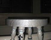 Curly, interlocking monogrammed, foot stool, custom