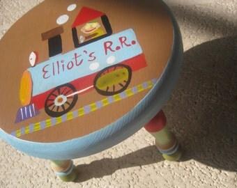 Child's foot stool, railroad, train, personalized  4 U