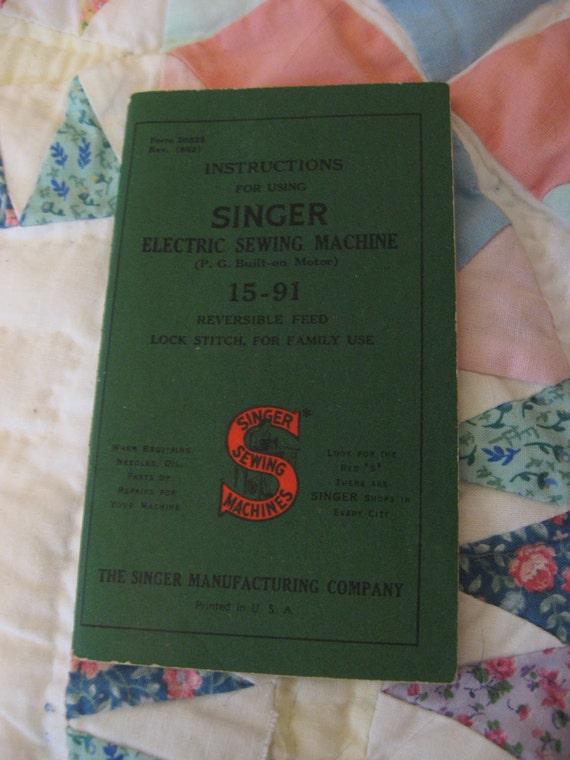 1952 Copyright Singer Sewing Machine Manual 15-91
