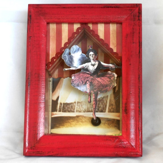 Wall Art Shadow Box : Gothic shadow box creepy circus diorama wall art