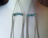 Silver Chain and Turquoise Earrings