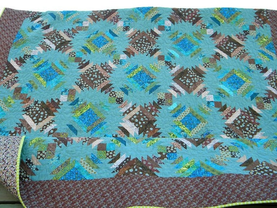 SALE Queen Bed Quilt Traditional Pineapple in Modern Teals and Browns SALE