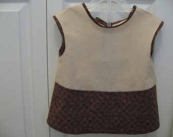 Child's Apron Art Smock / Bib in a Cute Puppy Paw Print  Toddler size 3