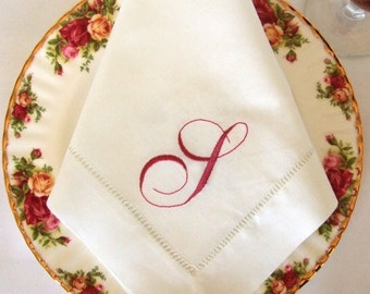 Monogrammed Linen Napkin, Dinner Napkins, Set of 8, Choose Your  Monogram Font:  Cottage Roses or Modern or Elegant