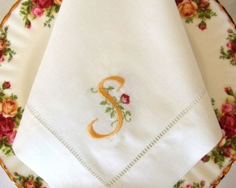 Monogrammed Linen Napkins, Dinner Napkins, Set of 4, Customized Monogram: Cottage Roses, or, Modern, or, Elegant, or, Heirloom