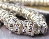 Premium Crystal rhinestone rondelles - Silver - 6mm - 10pcs NEW