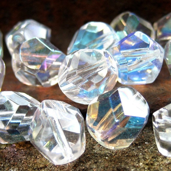 Crystal nuggets - Czech glass firepolish beads - Crystal AB - 10mm - 10pcs