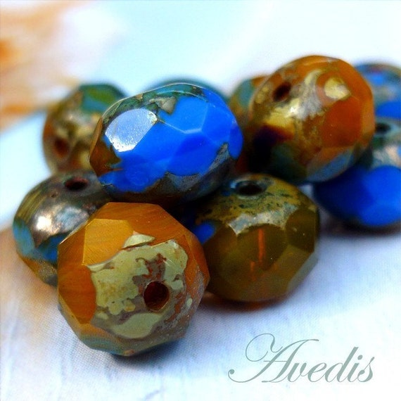 Czech glass faceted donut beads - Pumpkin and Cobalt - 8X6mm - 10pcs