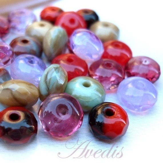 Rserved for Harpsea - Summer Mix - Czech glass faceted donut beads - 7X4mm - 25pcs