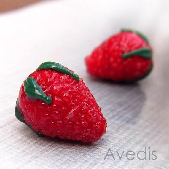 Strawberries - Czech glass lampwork beads - Red - 15X11mm - 2pcs