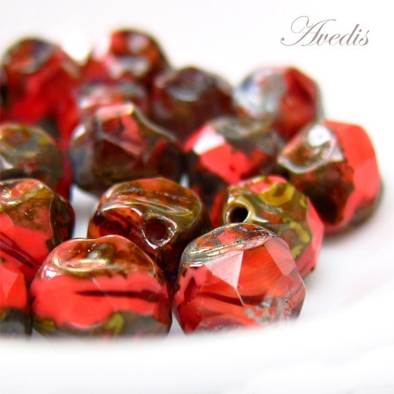 Czech glass beads - Irregular rounds - Coral reef - 9mm