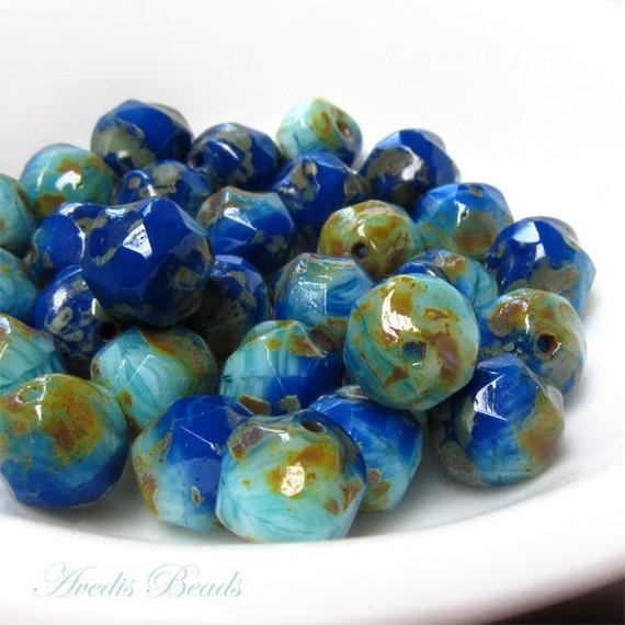 Picasso Czech glass beads - Blue Fusion - irregular round - 7mm - 15pcs NEW