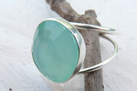 Aqua blue chalcedony ring - rose cut ring - sterling silver ring - made to order - chalcedony jewelry - beach jewelry