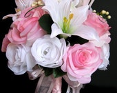 Wedding bouquet Bridal Silk flowers PINK WHITE LILY Bridesmaids boutonnieres Corsages 17 pc package