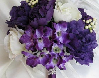 """Wedding bouquet Bridal Silk flowers 10 pieces package Ivory PURPLE  LILY bouquets Free shipping centerpiece """"Roses and Dreams"""""""