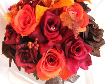 """Reserved listing Wedding bouquets Bridal Silk flower BURGUNDY Burnt ORANGE Lily BROWN Fall 4 pcs package """"Roses and Dreams"""""""