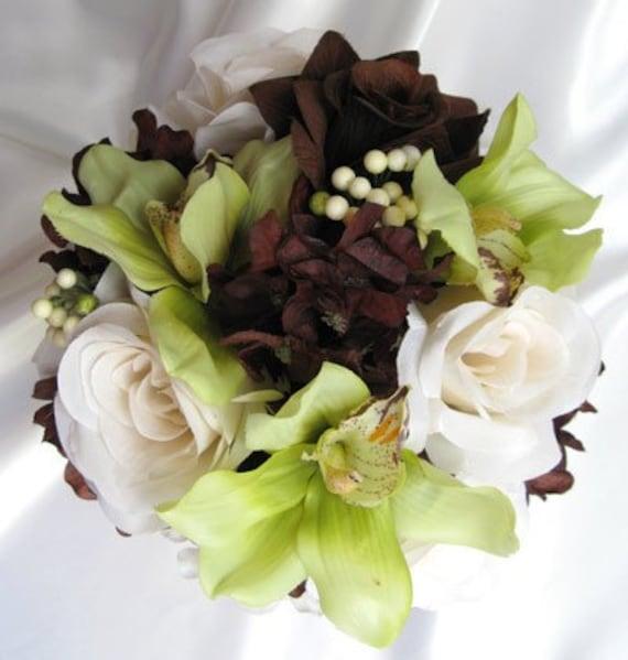 Brown Wedding Flowers: Wedding Bouquet BROWN CREAM GREEN Bridal Flowers Bridesmaids