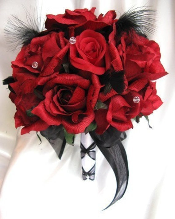 Wedding Bouquet Bridal Flowers RED BLACK FEATHERS 13 Pc