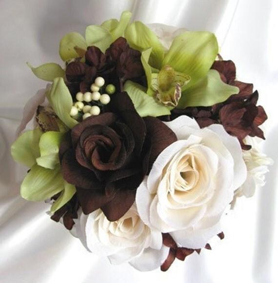 Brown Wedding Flowers: 7 Pc Wedding Bouquet BROWN CREAM GREEN Flowers Bridesmaids
