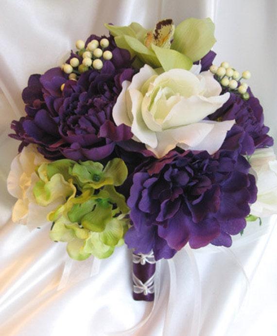 Wedding Bouquet Bridal Flowers PURPLE GREEN ORCHID 10 Pc