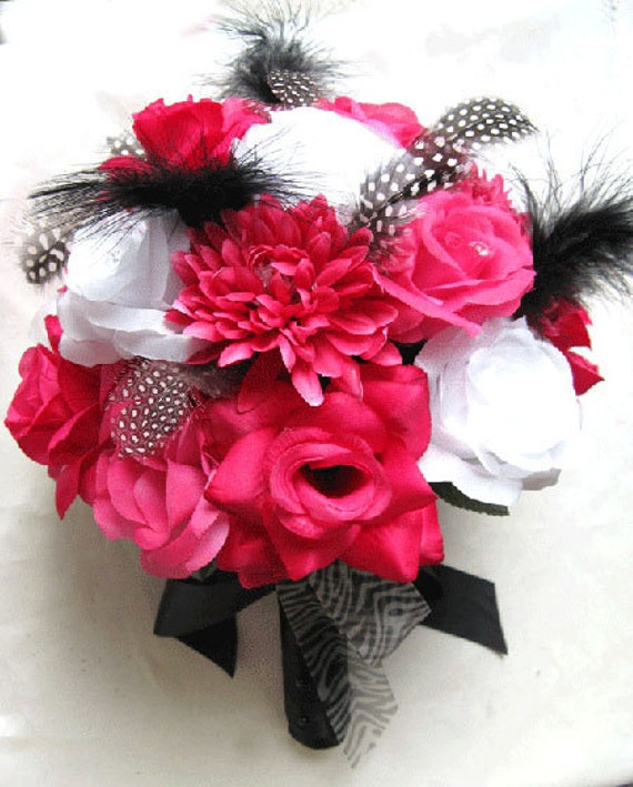 Dark Pink Wedding Flowers: Wedding Bouquet Bridal Silk Flowers Hot Pink FUCHSIA BLACK