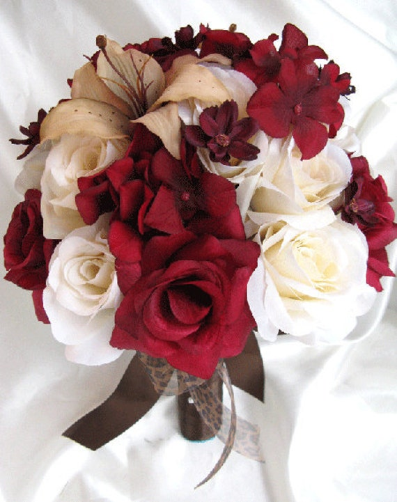 Burgundy Flowers For Weddings Wedding Bouquet Bridal Silk Flowers BURGUNDY CREAM LILY Champagne 3 Pc
