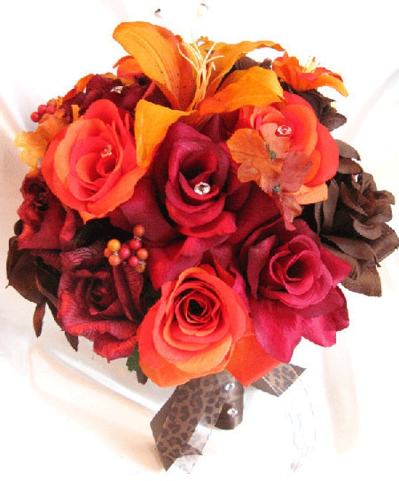 """Wedding bouquets Bridal Silk flower BURGUNDY Burnt ORANGE Lily BROWN Fall 17 pcs package Artificial bouquet boutonnieres """"Roses and Dreams"""""""