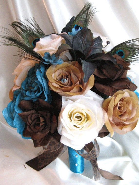 Wedding bouquet Bridal Silk flowers Cream BROWN TURQUOISE LILY Peacock  Feathers 17 pc package Bridesmaids boutonnieres Corsages
