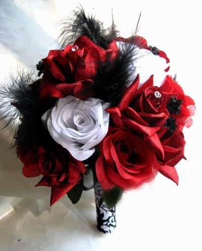 red and black wedding bouquets wedding bouquet bridal silk flowers white black feathers 6990