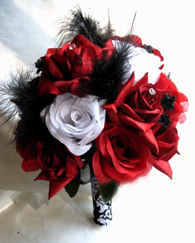 Wedding Bouquet Bridal Silk Flowers RED WHITE BLACK Feathers