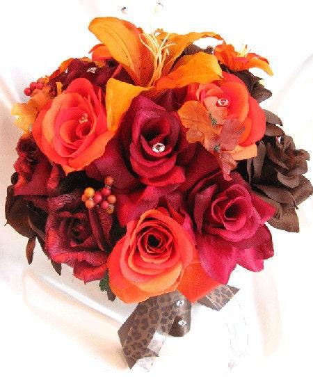 Brown Wedding Flowers: Wedding Bouquets Bridal Silk Flower BURGUNDY Burnt ORANGE Lily