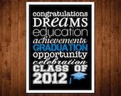 8x10 Graduation Subway Wall Art Print - blue & black