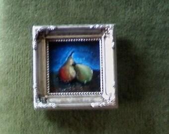 Cozy Pear Couple - Fruit Still Life 3x3 Miniature Original Painting Signed
