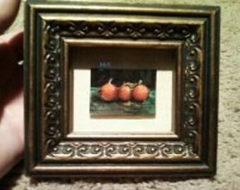 "Original ""Triple Orange"" Miniature Framed Watercolor and Ink by Artist Julie Papple"