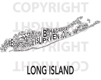FREE SHIPPING - Urban Neighborhood Poster - Long Island - 18 x 24
