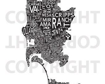 Urban Neighborhood Poster - San Diego INVERSE - 24 x 36