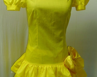 Pokemon Pikachu Lolita Cosplay Costume Yellow and Brown with Tail Size 4 6 8 10 12 14