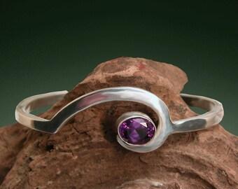 Wave Bracelet - Sterling Silver and Amethyst