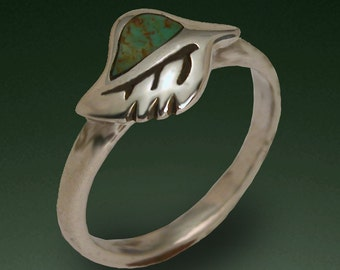 Turquoise Leaf Ring - Sterling Silver and Turquoise