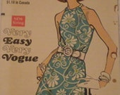 Vogue 7544 - Dress with cut-away armholes (1969 pattern) Size 8, Bust 31.5