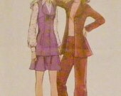 Simplicity 5291 - Unlined jacket or vest, mini skirt and bell bottom pants (1972 pattern) Size 14, Bust 36