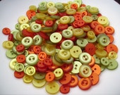 100 Hand Dyed Vintage 1967 and 1968 High Luster PolyPearl - Pearly Buttons -  Citrus Twist - Orange - Yellow - Green - Button Mix