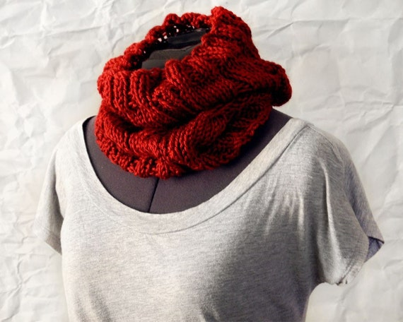 Crimson Red Cable Knit Cowl