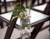 Fabric and burlap mason jar flower vase