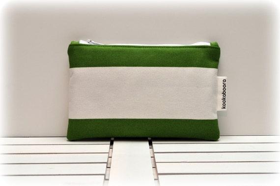 Sale - BONDI BEACH COLLECTION - Zipper Pouch - Green and White Stripes