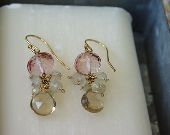 Champagne citrine, Pink Mystic Quartz and Prehnite Dangle Earrings, Kiss from a Rose Champgne and Rose Color Earrings