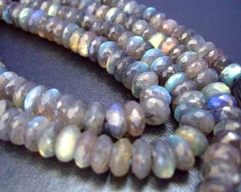1/4 Strand Amazing Cobalt Flash Labradorite Faceted Rondelles (No.1511)